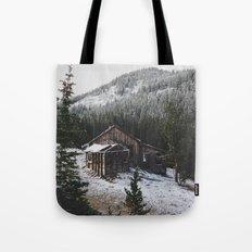 Snowy Cabin Tote Bag