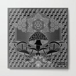 Mushroom Mandala I Metal Print