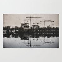 postcard Area & Throw Rugs featuring Industrial (retro postcard) by DS' photoart