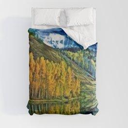 Western Rockies Aspen Forest & Lake Landscape by Jeanpaul Ferro Comforters