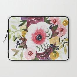 Burgundy Blush Watercolor Floral Laptop Sleeve