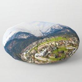 Village Beneath the Mountain Floor Pillow