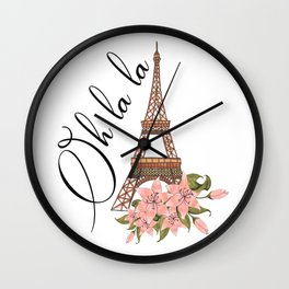 Oh La La Eiffel Tower France Wall Clock