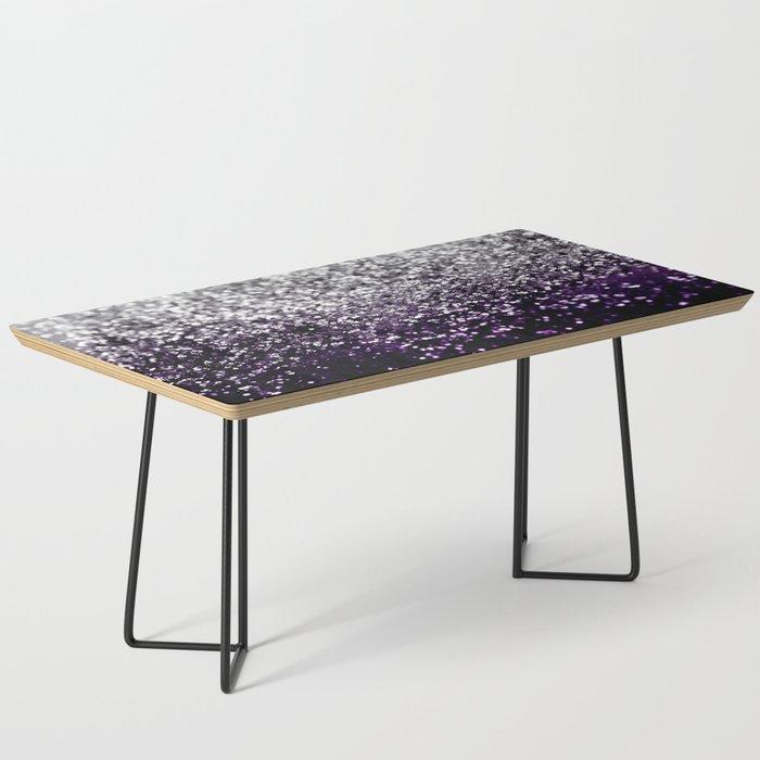 Dark Night Purple Black Silver Glitter #1 #shiny #decor #art #society6 Coffee Table