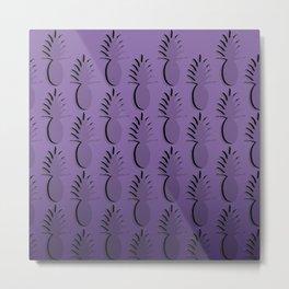 Pineapple Lines - purple Metal Print
