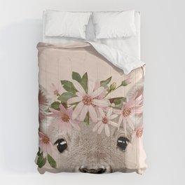Baby Deer Print, Baby animal, Flower crown, Woodlands Decor, Wall Art, Animals Print, Woodlands Comforters