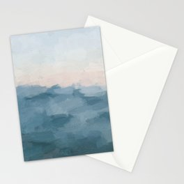 Ocean Blue Waves Soft Pink Peach Sunrise Nautical Sea Sailing Abstract Nature Painting Art Print Wall Decor  Stationery Cards