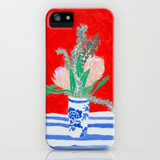 Protea Still Life in Red and Delft Blue Slim Case iPhone (5, 5s)