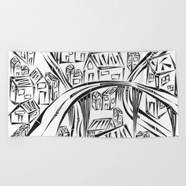 Town Circled By Roads Beach Towel