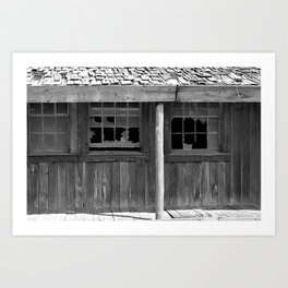 Isolated black and white photograph of abandoned old west saloon dance hall motel in Texas Art Print