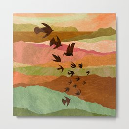 Red Mountains Birds Flying Metal Print