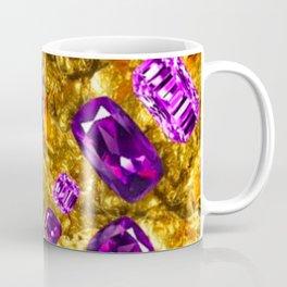 RICH OPULENT PURPLE  AMETHYST GEMS ON GOLD Coffee Mug