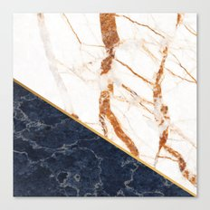 Classy Elegant White Blue Gold Marble Canvas Print