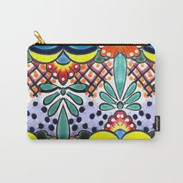 Colorful Talavera, Yellow Accent, Large, Mexican Tile Design Carry-All Pouch