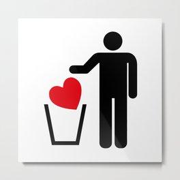Heart Trash Bin Metal Print