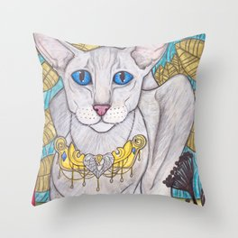 Oriental short hair cat Throw Pillow