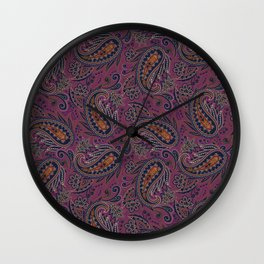 Meredith Paisley - Eggplant Purple Wall Clock