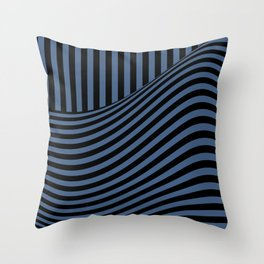 Blue , black , striped Throw Pillow