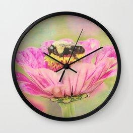 Honey Bee on Dahlia 1 Wall Clock