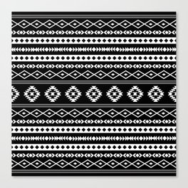 Aztec White on Black Mixed Pattern Canvas Print