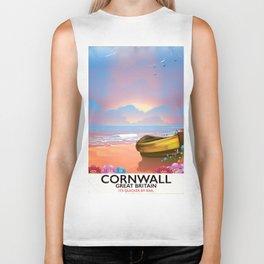 Cornwall beach vintage seaside poster Biker Tank