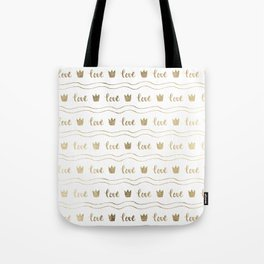 Modern faux gold crown waves stripes love typography Tote Bag