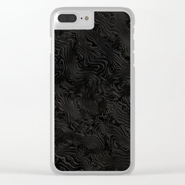 Black Silk Rippled Moiré Pattern Clear iPhone Case