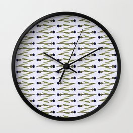 Blue cornflower watercolor pattern Wall Clock
