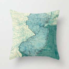 New Jersey State Map Blue Vintage Throw Pillow