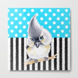 Titmouse Polka Blue Metal Print