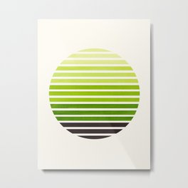 Sap Green Mid Century Modern Minimalist Scandinavian Colorful Stripes Geometric Pattern Round Circle Metal Print