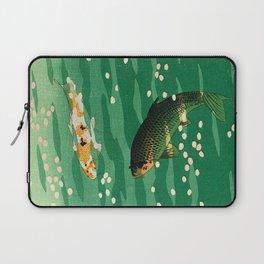 Vintage Japanese Woodblock Print Asian Art Koi Pond Fish Turquoise Green Water Cherry Blossom Laptop Sleeve