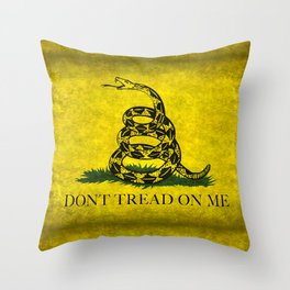 Gadsden Dont Tread On Me Flag - Distressed Throw Pillow