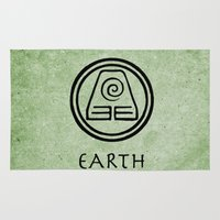 the last airbender Area & Throw Rugs featuring Avatar Last Airbender Elements - Earth by bdubzgear