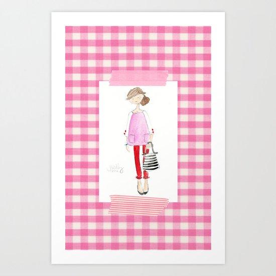Pink Gingham Art Print