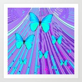 MIGRATING NEON BLUE BUTTERFLIES & PURPLE  ART Art Print