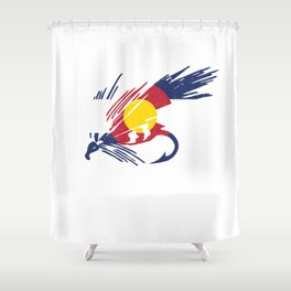 Colorado Fly Fishing Hook Flag River Men Shower Curtain