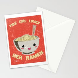 This Girl Loves Her Ramen Japanese Noodles Lover Vintage Retro Stationery Cards