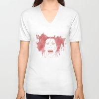 patrick V-neck T-shirts featuring Patrick Bateman by Itxaso Beistegui Illustrations