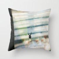 spider Throw Pillows featuring SPIDER by sincerelykarissa