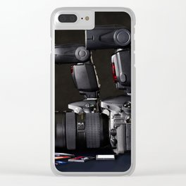 Set of photographs DSLR camera, lens and flash Clear iPhone Case