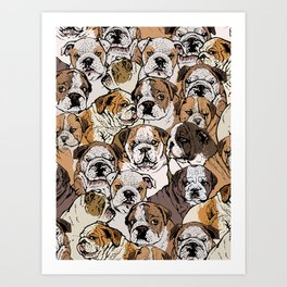 Social English Bulldog Art Print