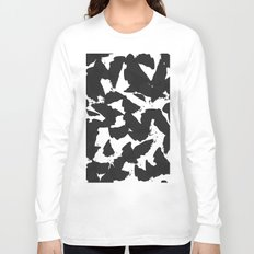 Black Bird Wings on White Long Sleeve T-shirt