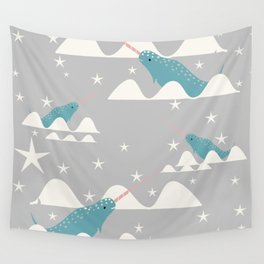 narwhal in ocean grey Wall Tapestry