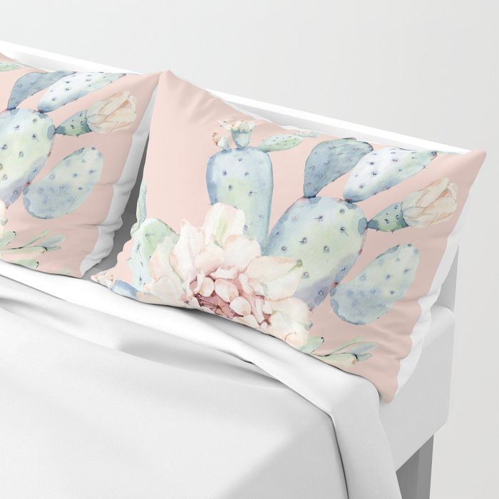 Sweet Pink Rose Desert Cactus Pillow Sham