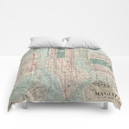 New York City, Manhattan, Vintage Map Comforters