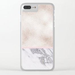 Pearl rose gold with marble Clear iPhone Case