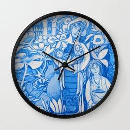 Blue window #7 Wall Clock