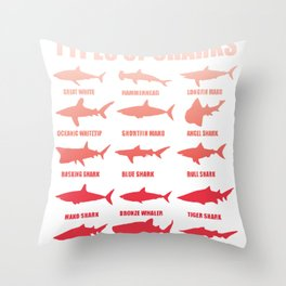 Shark species sharks white shark hammerhead whale shark gift Throw Pillow
