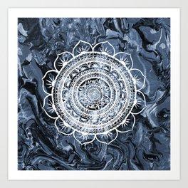 White Acacia on Liquid Silver Art Print